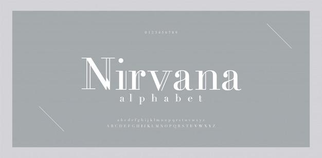 エレガントなアルファベット文字のフォントと番号。古典的なレタリング最小限のファッションデザイン。タイポグラフィのフォント番号は、セリフの大文字と小文字です。 Premiumベクター