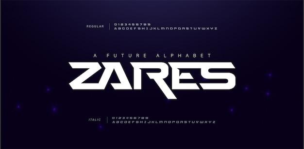 Спорт современный будущий алфавит шрифт Premium векторы