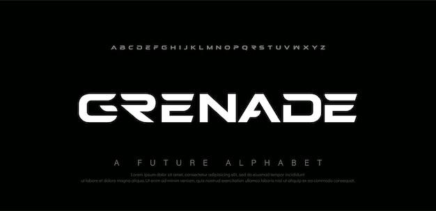 Спортивные цифровые современные шрифты алфавита. абстрактная технология книгопечатания электронная, спорт, музыка, будущий творческий шрифт. Premium векторы