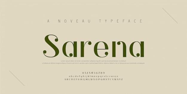 Элегантный шрифт букв алфавита и номер. классические медные надписи минимальный дизайн одежды. типография шрифтов обычная прописная и строчная. Premium векторы