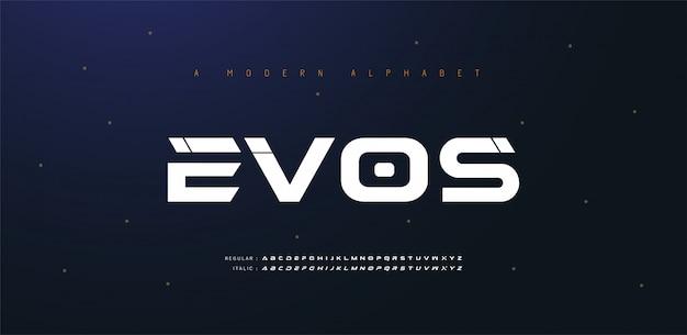 Спорт современное будущее курсив алфавит шрифт. типография городской стиль шрифты для технологий, цифровой, фильм логотип курсивом. иллюстрация Premium векторы