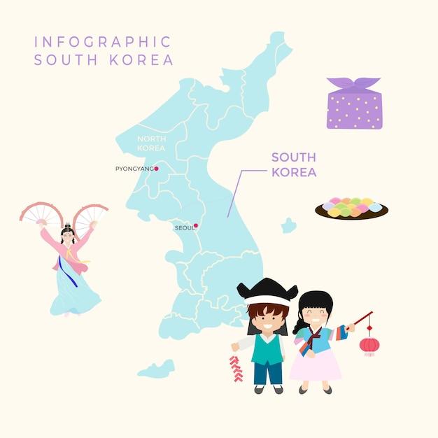 Инфографика южная корея Premium векторы