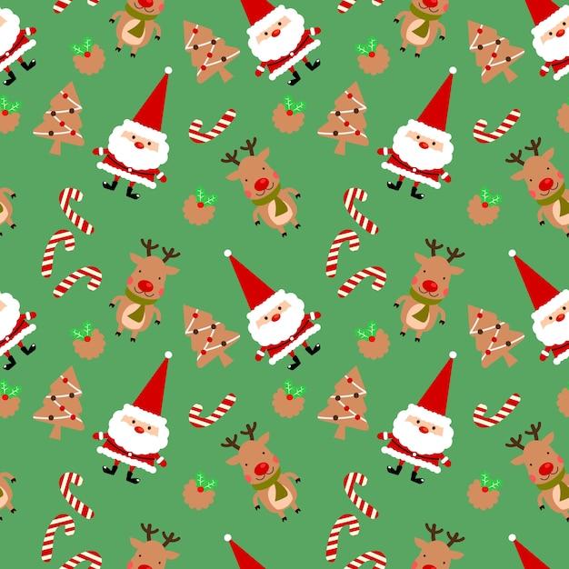 クリスマスクッキーとかわいいサンタクロースのシームレスなパターン。 Premiumベクター