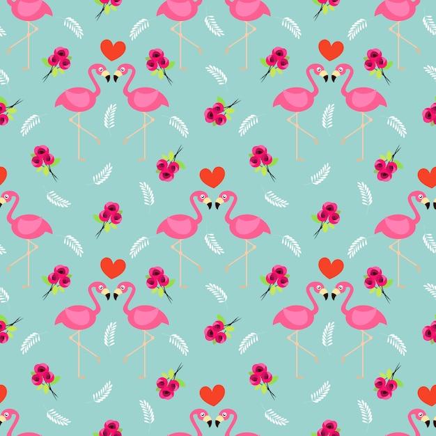 フラミンゴとバラのシームレスパターン。 Premiumベクター