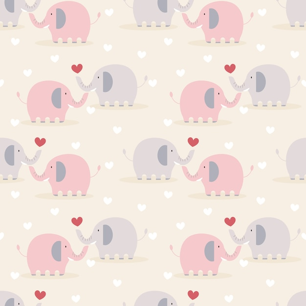 愛のシームレスパターンでかわいいカップル象。 Premiumベクター