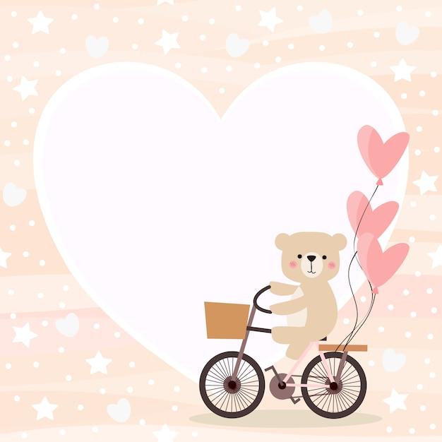 かわいいクマはバレンタイン背景で自転車に乗る。 Premiumベクター