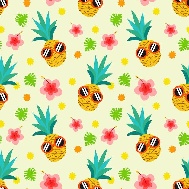 かわいい夏のパイナップルのシームレスパターン。 Premiumベクター