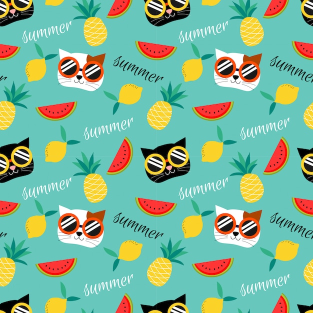 かわいい猫と夏のフルーツのシームレスパターン。 Premiumベクター