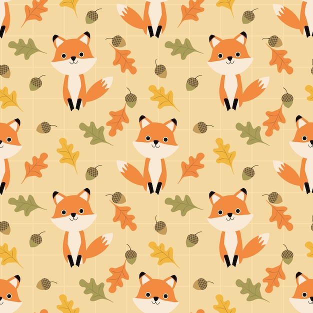 かわいいキツネと秋はシームレスパターンを残します。 Premiumベクター