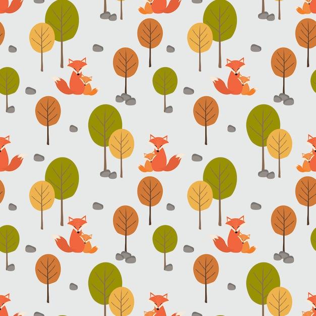 Милая лиса (мама и ее ребенок) в осеннем лесу бесшовные модели. Premium векторы