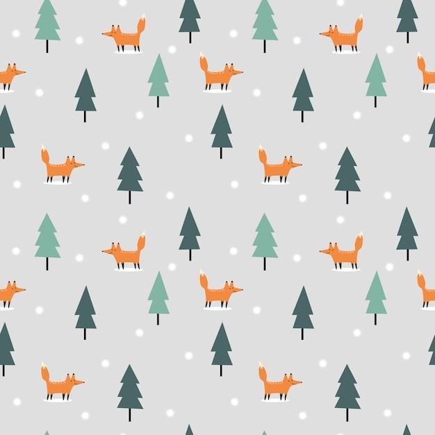 Симпатичная лиса в рождество зима бесшовный фон Premium векторы