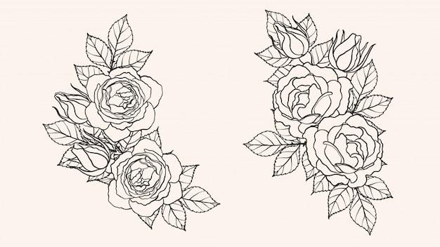 手描きでバラ飾りベクトル Premiumベクター