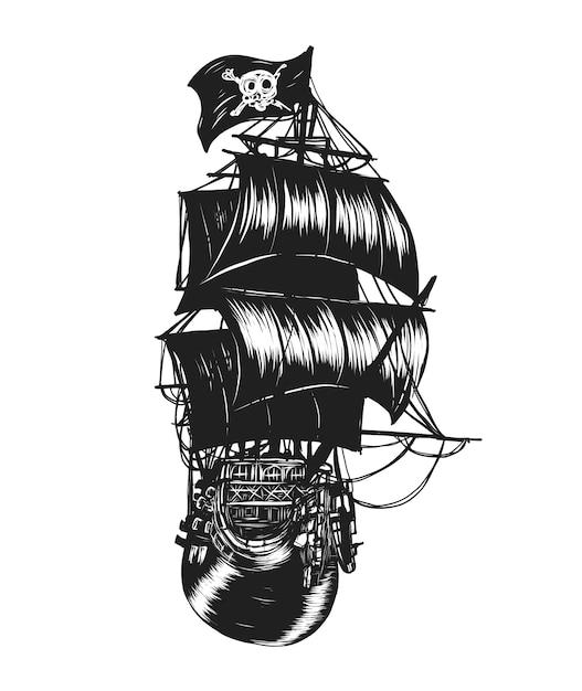 Пиратский корабль вектор от руки рисунок. Premium векторы