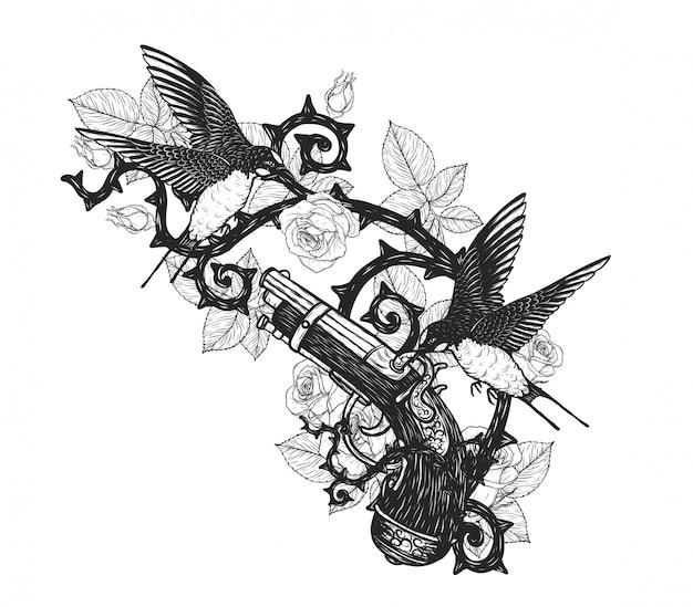 手描きで海賊銃ベクトルタトゥーを飲み込む Premiumベクター