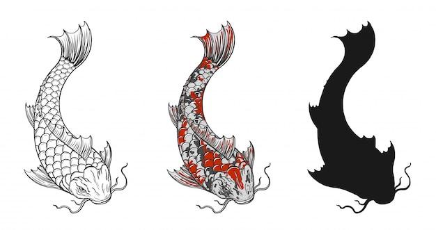 手描きで鯉魚の入れ墨 Premiumベクター