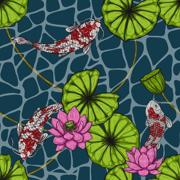 手描きによる蓮のシームレスなパターンを持つ鯉魚 Premiumベクター