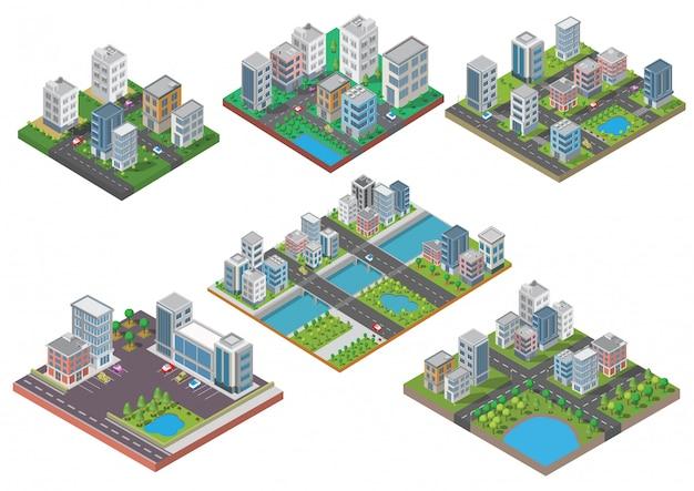 等尺性都市建物のセット Premiumベクター