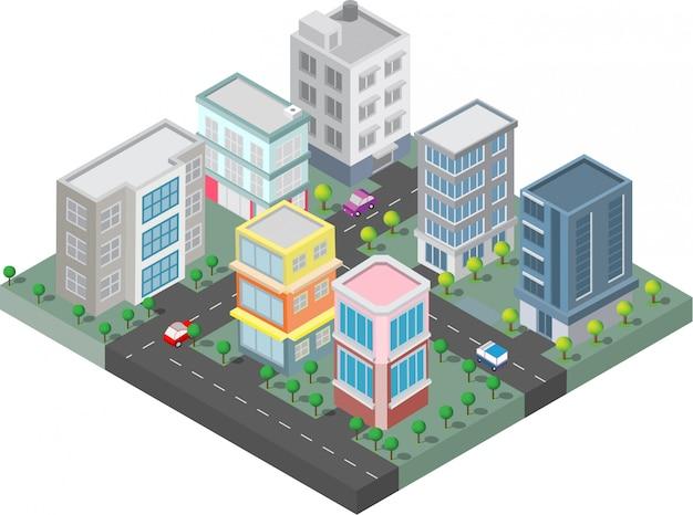 Изометрические они на дворе с дорогой и деревьями. умный город и общественный парк Premium векторы