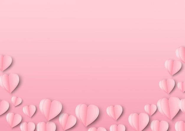 パステルピンクの飛行にハートの形を作った愛と折り紙のペーパーアート Premiumベクター