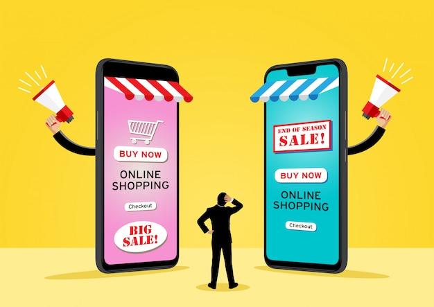 Два гигантских сотовых телефона, продающих товары Premium векторы