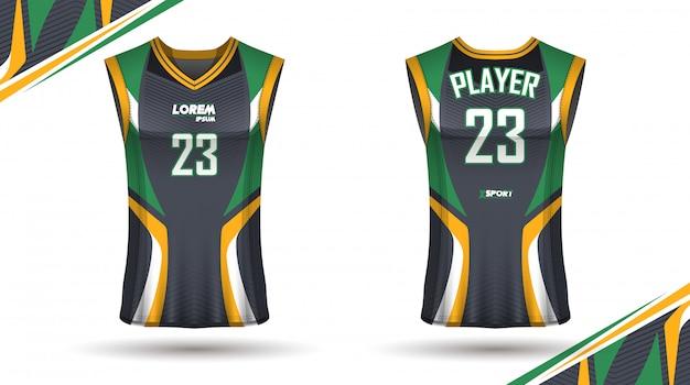前後のクリエイティブバスケットボールシャツデザイン Premiumベクター