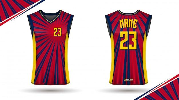 バスケットボールシャツのデザイン、前面と背面 Premiumベクター