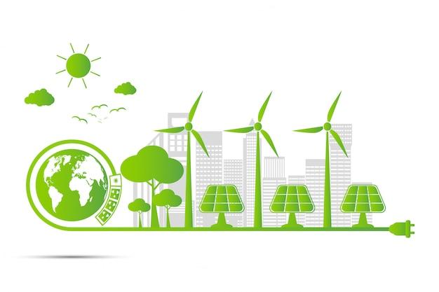 エコロジーと環境の概念、都市の周りの緑の葉の付いた地球のシンボルは環境に優しいアイデアで世界を助けます Premiumベクター