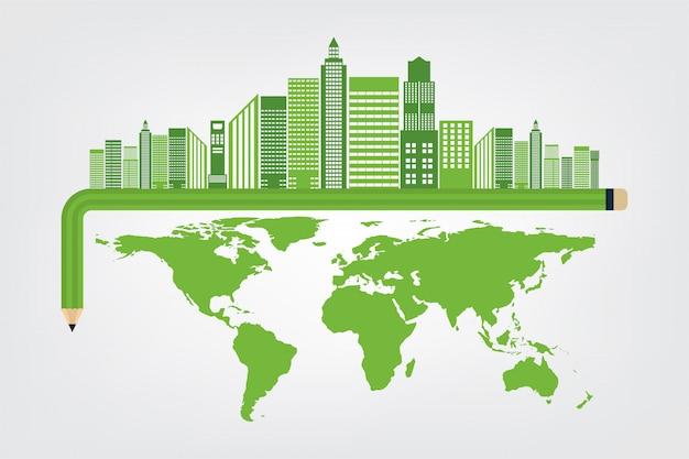 コンセプト都市の周りの緑の葉を持つ世界環境と地球のシンボル Premiumベクター