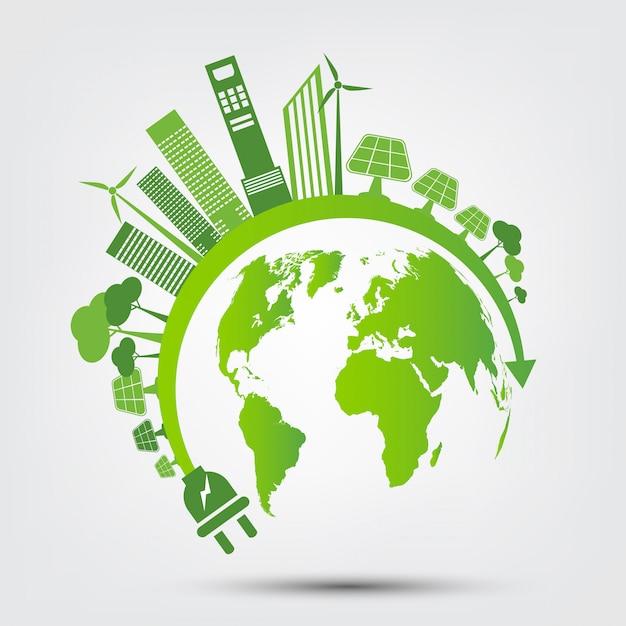 エネルギーのアイデアは世界の概念を救う電源プラググリーンエコロジー Premiumベクター