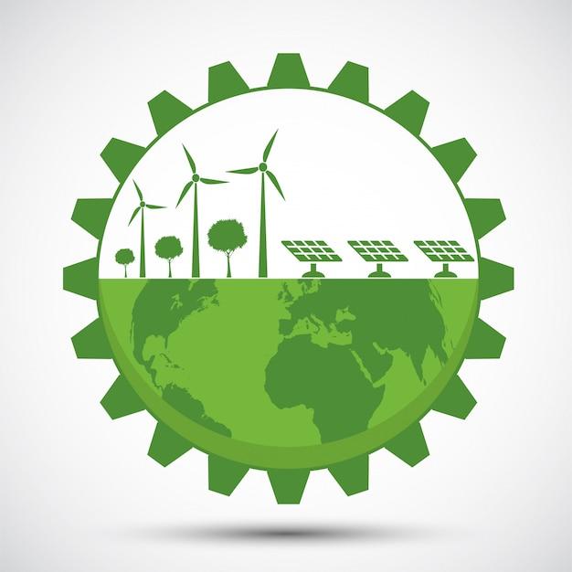 Символ земли с зеленым механизмом вокруг городов помогите миру с экологически чистыми идеями Premium векторы