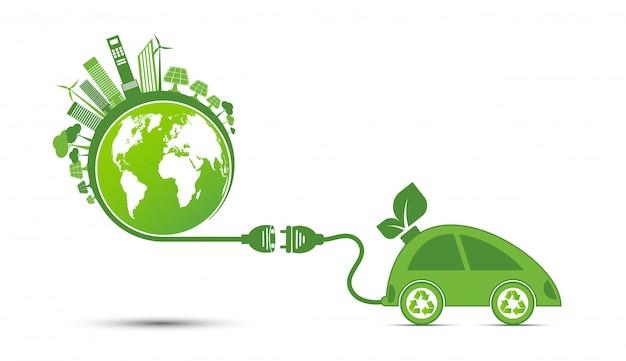 エネルギーのアイデアが世界の概念を救う電源プラググリーンエコロジーリサイクル Premiumベクター