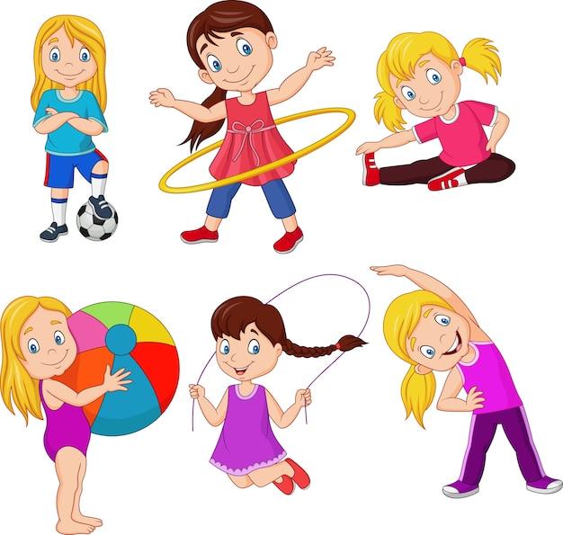 Мультяшные девочки с разными увлечениями Premium векторы