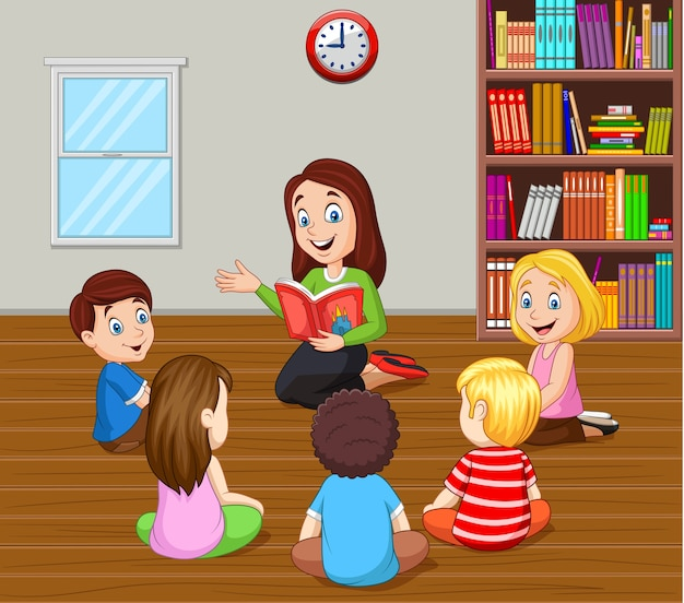 教室で子供たちに話をする教師 Premiumベクター