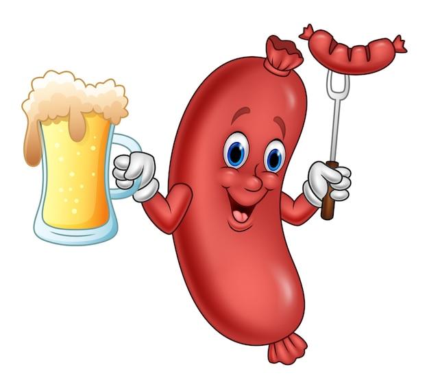 フォークにビールとソーセージを入れた漫画ソーセージ Premiumベクター