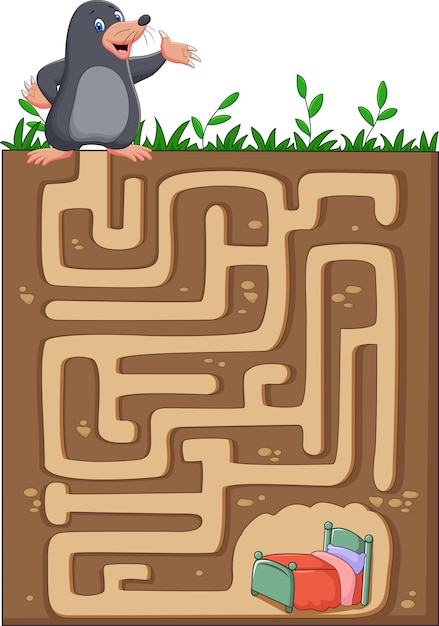 地下迷路の帰り道を見つけるためモルを助ける。 Premiumベクター