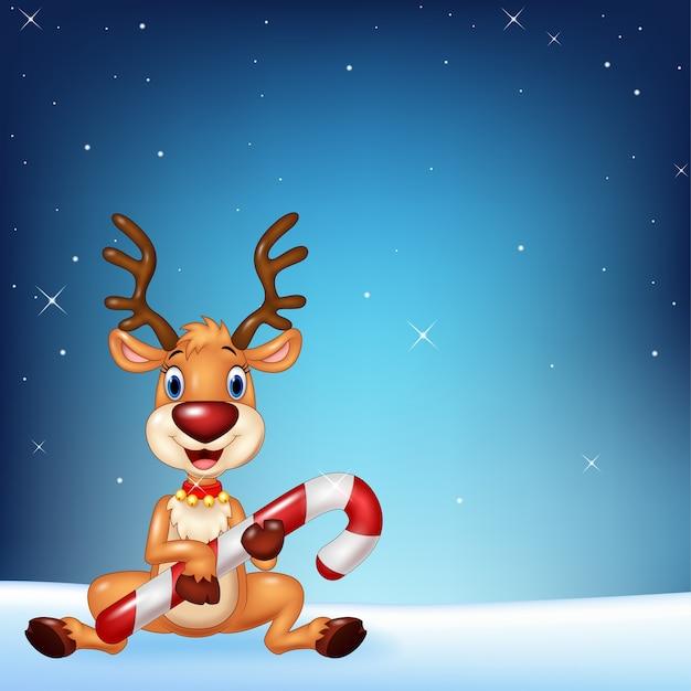 夜の空の背景にクリスマスキャンディを保持しているかわいい鹿 Premiumベクター