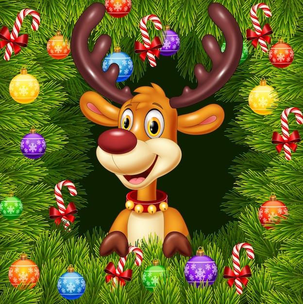 クリスマスの飾りの背景に漫画の面白い鹿 Premiumベクター