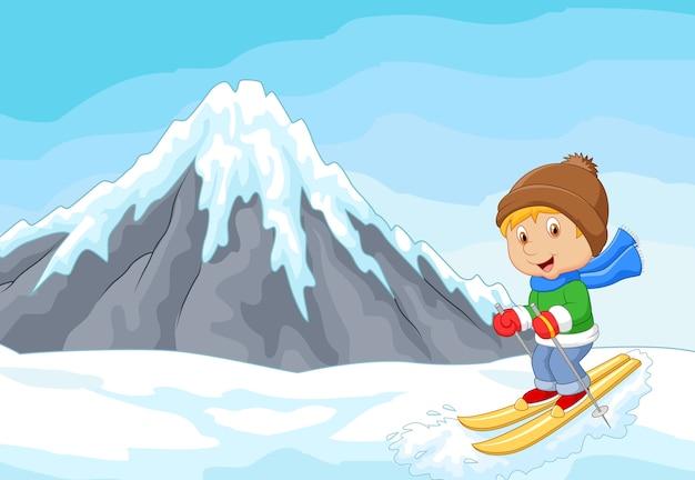 Мультфильм альпийский лыжник гонок экстремальный холм с айсбергом Premium векторы