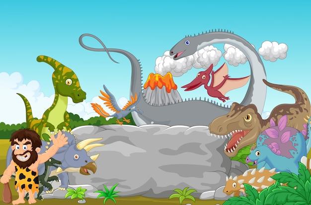 洞窟人を振っているコレクション恐竜 Premiumベクター