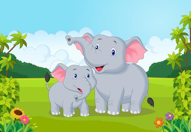漫画の母と赤ちゃんの象 Premiumベクター
