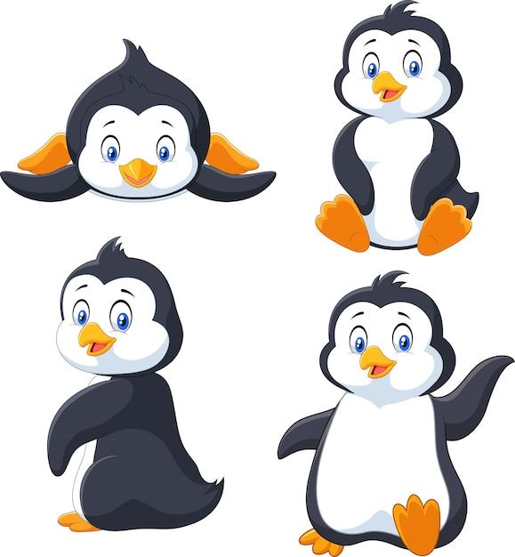 Коллекция мультяшного пингвина Premium векторы