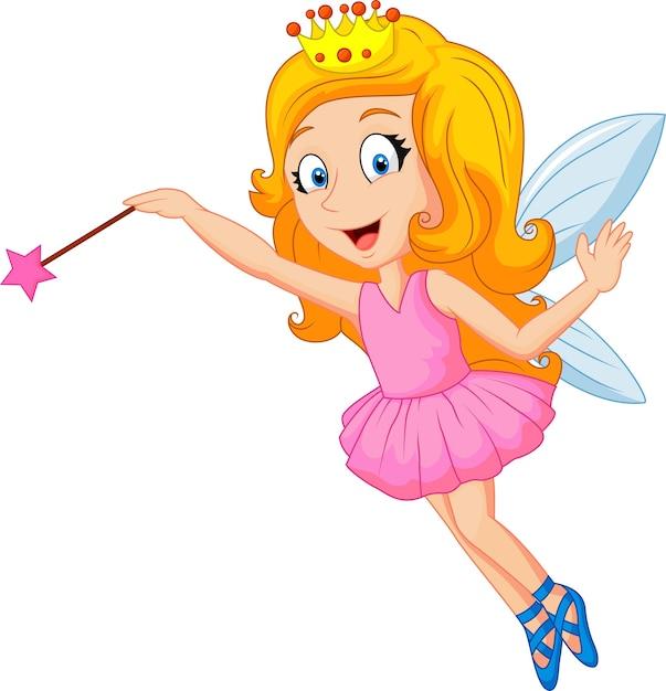 Мультяшная фея с волшебной палочкой | Премиум векторы