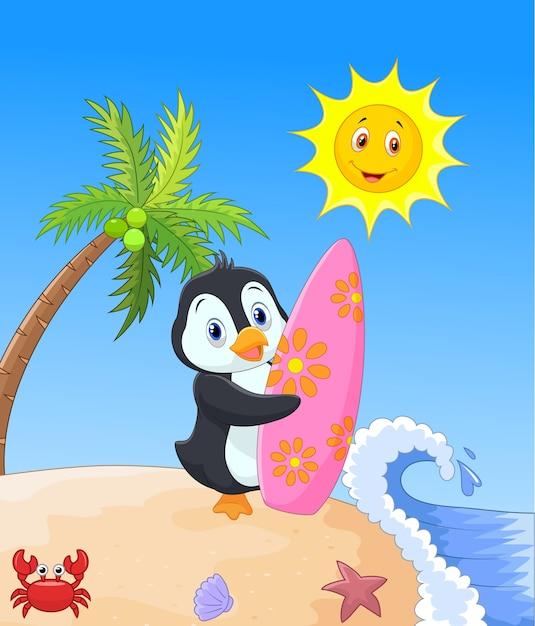 サーフィンボードを持っているハッピーペンギンの漫画 Premiumベクター