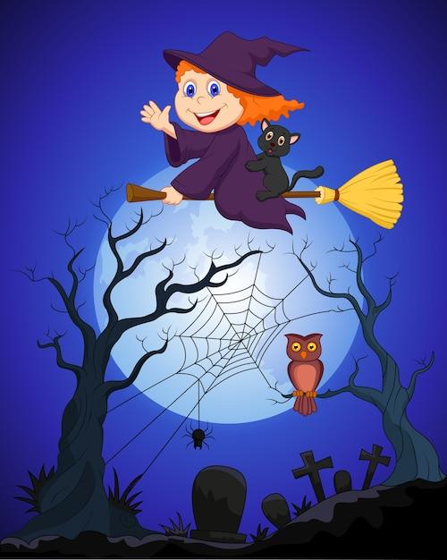 墓地の上の満月の箒に乗っている魔女 Premiumベクター