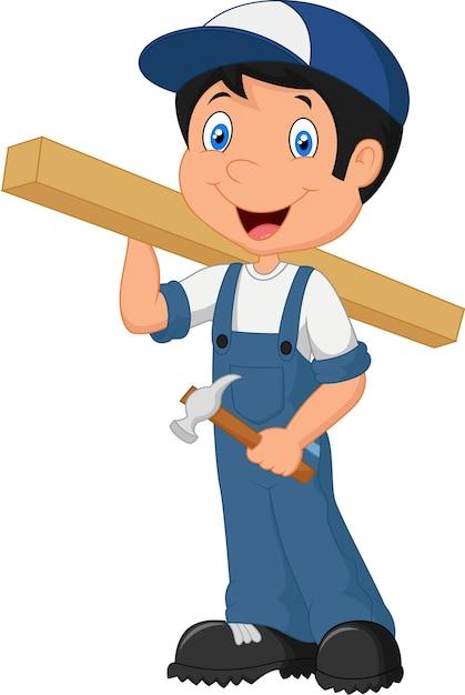 Мультяшный счастливый плотник Premium векторы