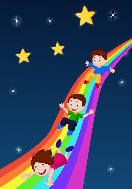 Иллюстрация детей, раздвигающих радугу Premium векторы