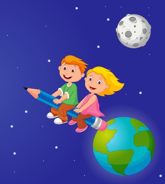 地球を離れる鉛筆に乗っている少年と少女 Premiumベクター
