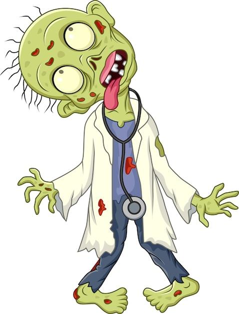 Мультяшный врач зомби на белом фоне Premium векторы