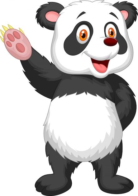 かわいいパンダの漫画は手を振って Premiumベクター