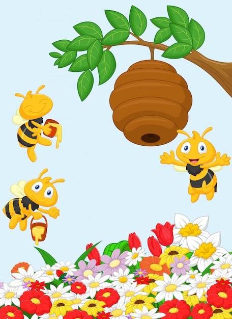 Иллюстрация ветви дерева с улей и пчелой Premium векторы